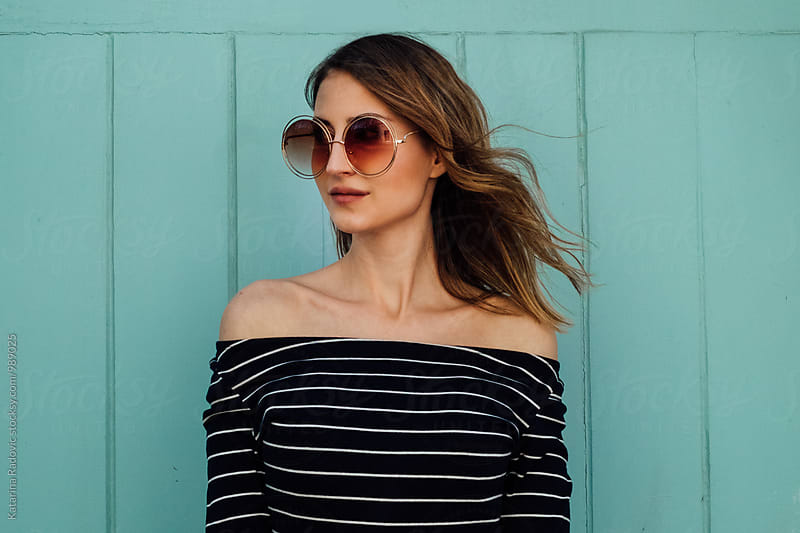 Beautiful Young Woman With Retro Sunglasses by Katarina Radovic for Stocksy United