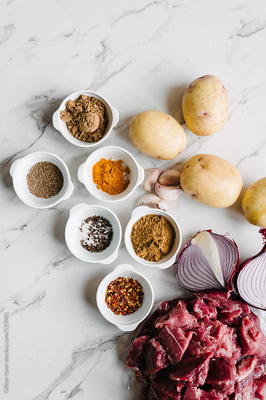 lamb korma curry ingredients by Gillian Vann for Stocksy United