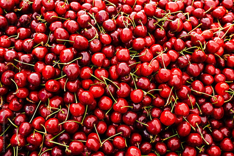 A whole stack of cherries. by Lucas Saugen for Stocksy United