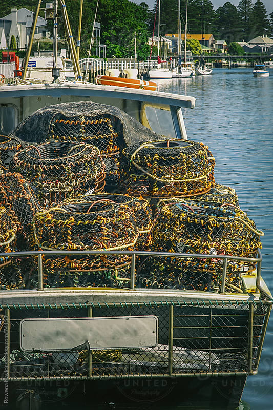 Cray Fishing Baskets at the Marina by Rowena Naylor for Stocksy United
