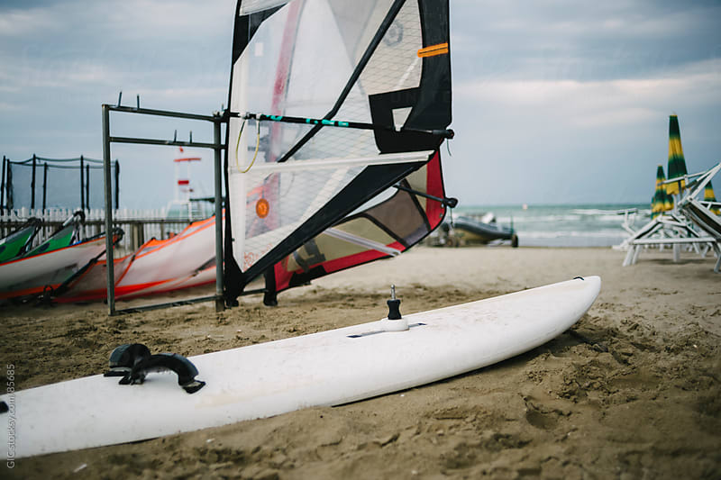 Wind surf boards on the beach by GIC for Stocksy United