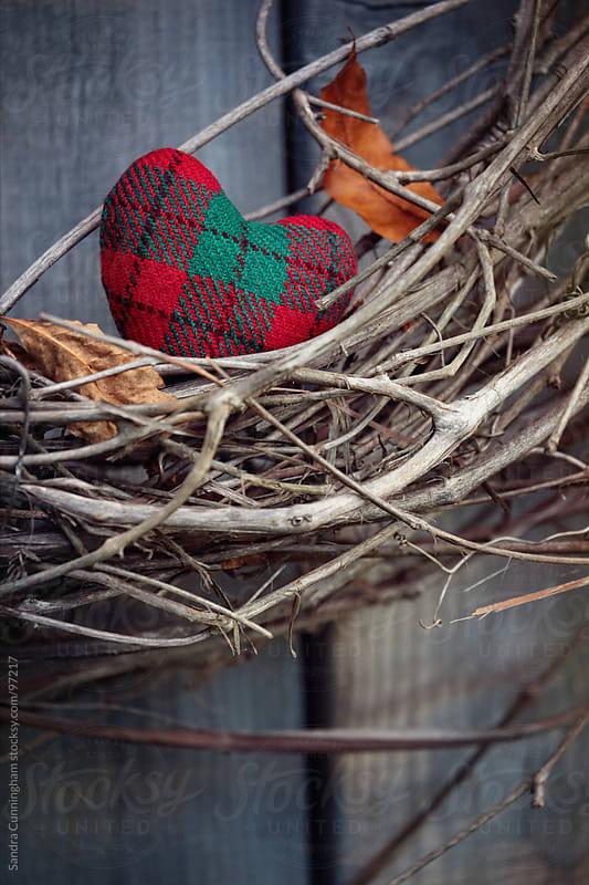 Closeup of little heart on grape vine wreath by Sandra Cunningham for Stocksy United