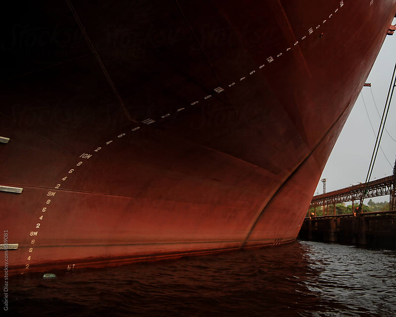 Prow of an old red freighter at wharf by Gabriel Diaz for Stocksy United