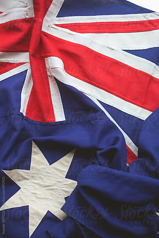 Close up of the Australian flag by Natalie JEFFCOTT for Stocksy United