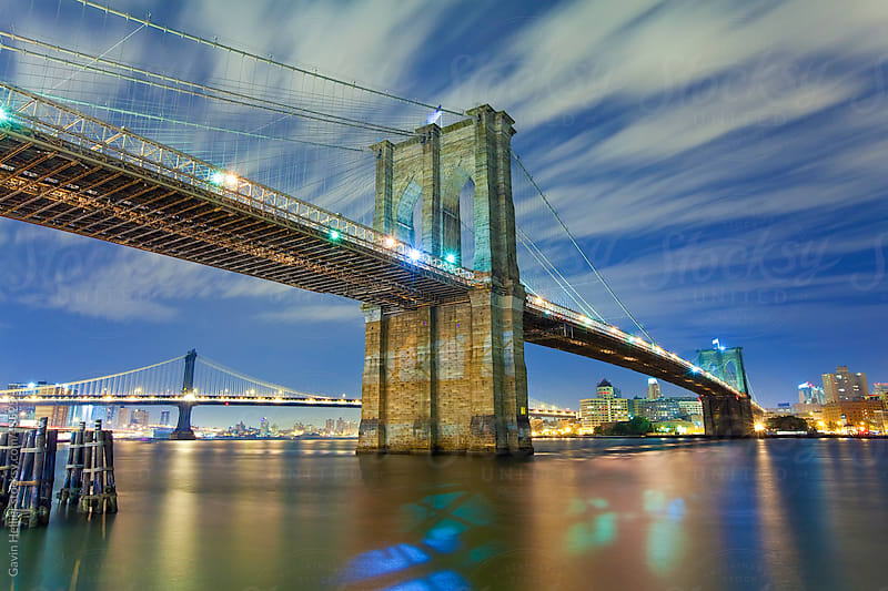 USA, New York City, Manhattan,  The Brooklyn and Manhattan Bridges spanning the East river by Gavin Hellier for Stocksy United