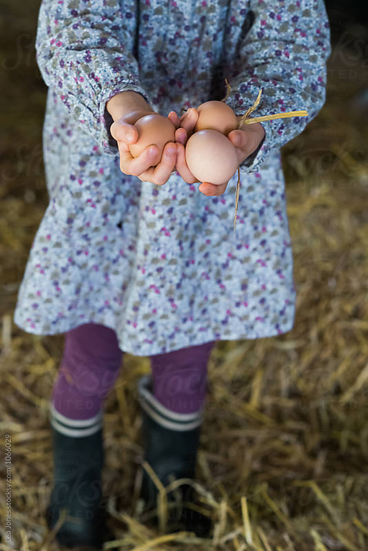 Little girl holding eggs by Léa Jones for Stocksy United