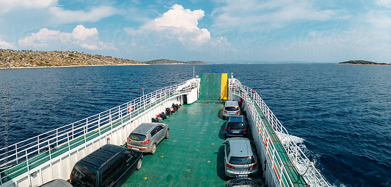 View from the top of the ferry boat by Marko Milovanović for Stocksy United