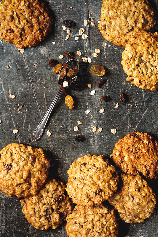 Healthy homemade oatmeal raisin cookies  by Pixel Stories for Stocksy United