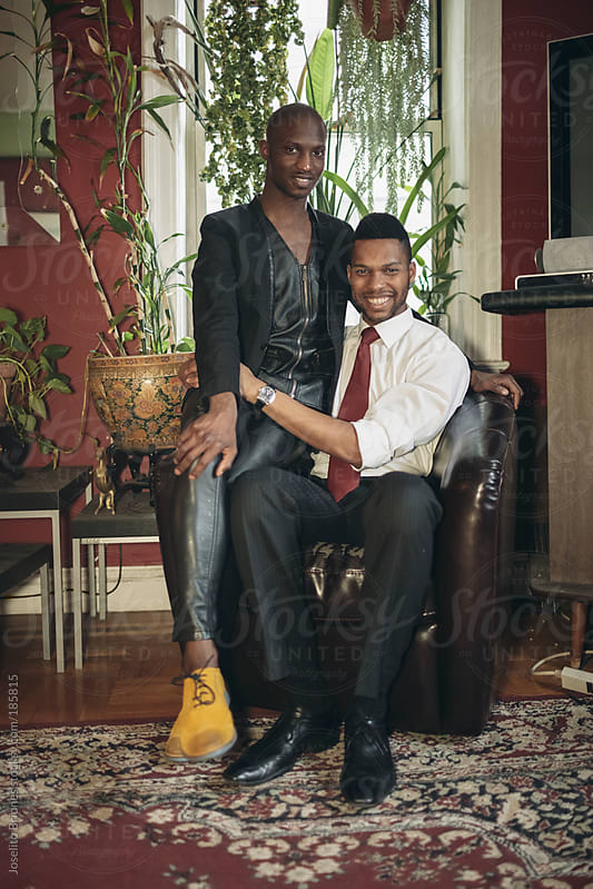 Portrait of Gay Black Male Couple at Home by Joselito Briones for Stocksy United