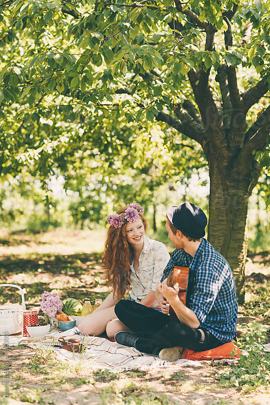Caucasian Couple on a Picnic by Lumina for Stocksy United