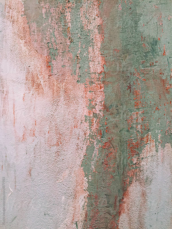 Close up of peeling paint and weathered wall by Paul Edmondson for Stocksy United