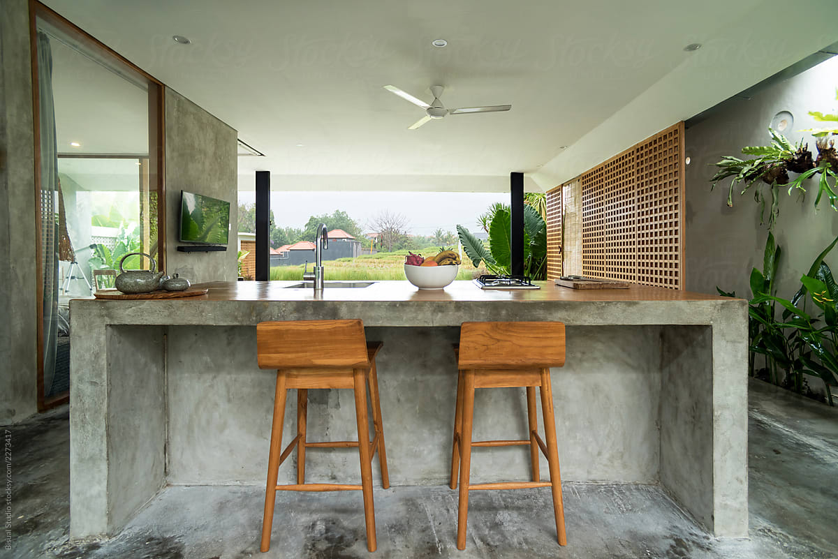 Modern Open Kitchen In Luxury Villa Bali By Bisual Studio Kitchen Living Room Stocksy United