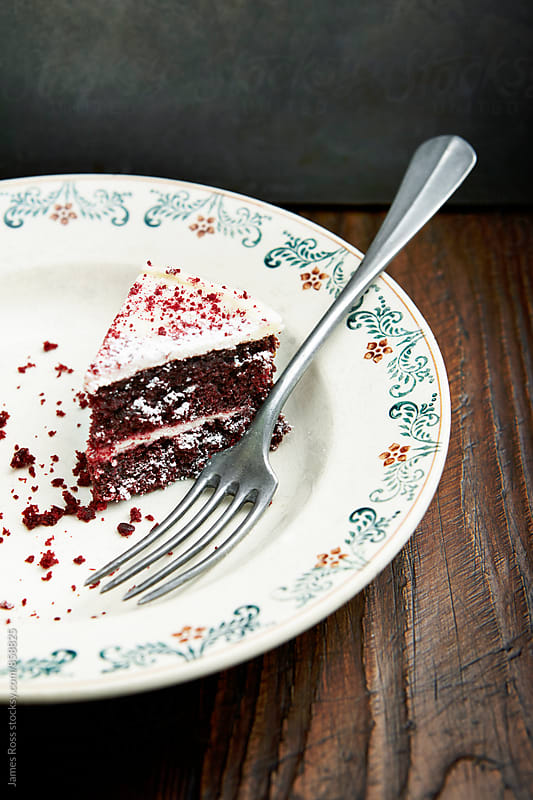 A single slice of cake on a plate by James Ross for Stocksy United