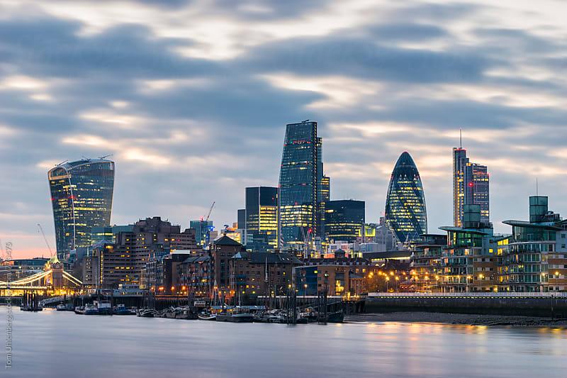 London - City Skyline at Twilight, England, United Kingdom by Tom Uhlenberg for Stocksy United