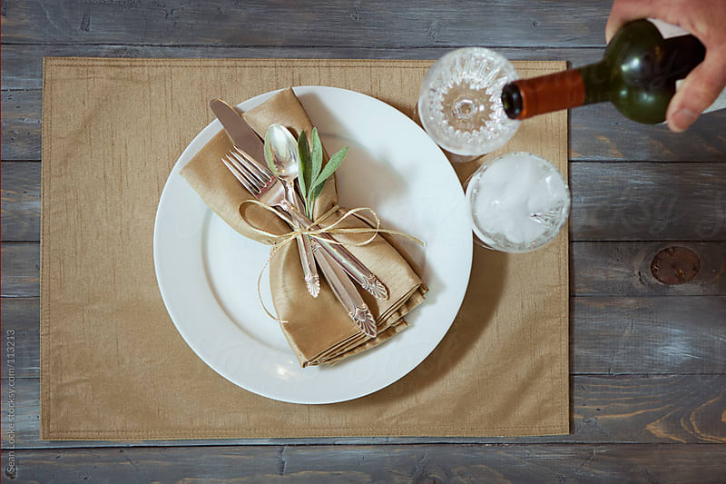 Thanksgiving: Holiday Place Setting On Weathered Wood by Sean Locke for Stocksy United