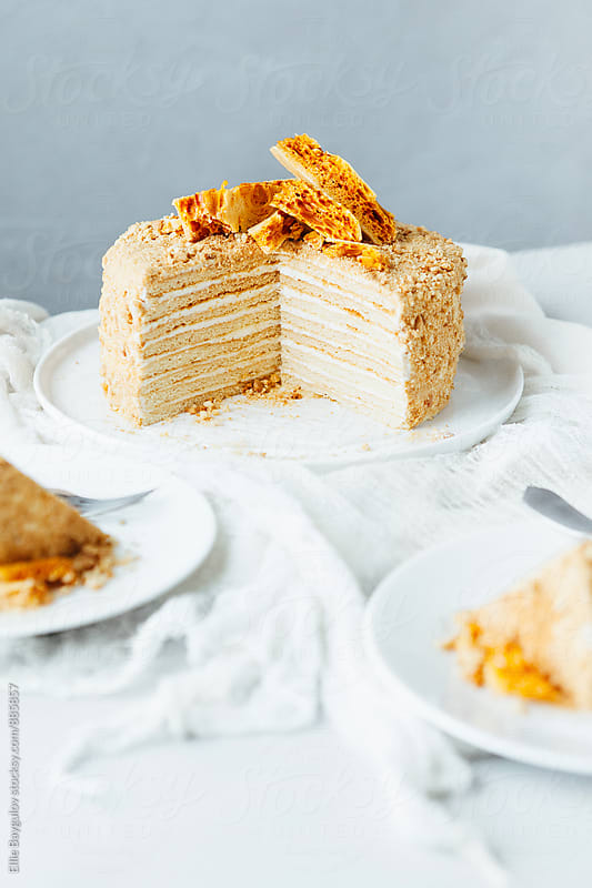 Honey layered cake by Ellie Baygulov for Stocksy United