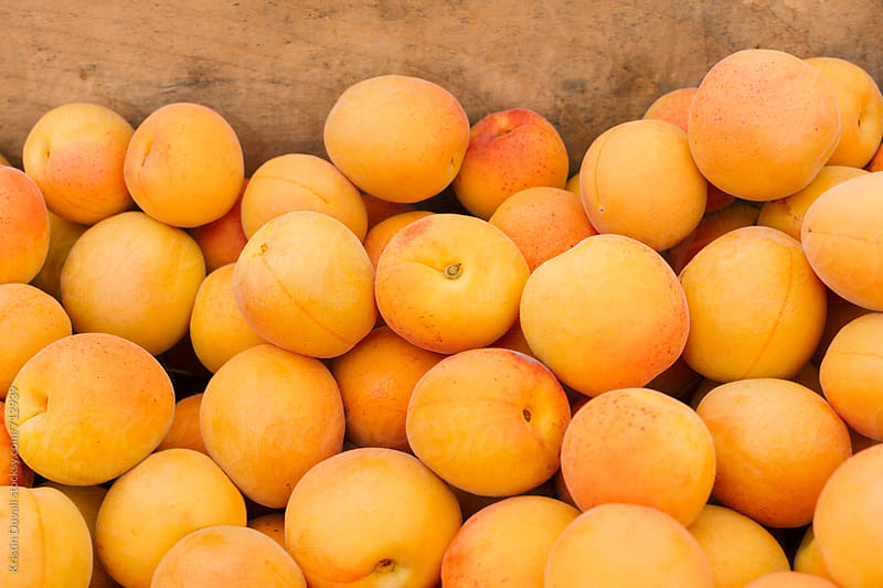 Apricots at market by Kristin Duvall for Stocksy United
