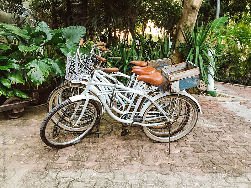 Group of white cruiser bicycles by Carey Shaw for Stocksy United
