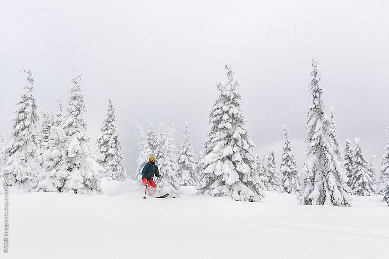 Man ski touring in the backcountry by RG&B Images for Stocksy United