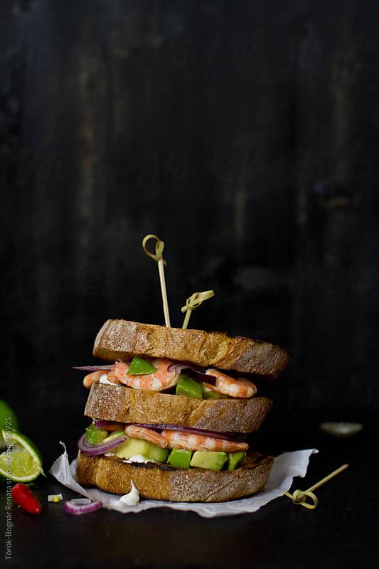Prawn, avocado sandwich by Török-Bognár Renáta for Stocksy United