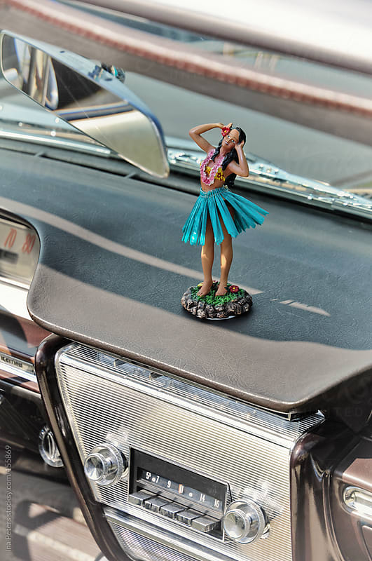 Vintage Car Interior with Dashboard Hula by Ina Peters for Stocksy United