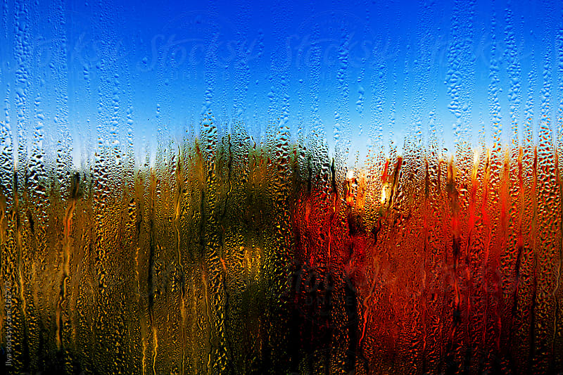 Autumn landscape through the window with water drops.  by Ilya for Stocksy United