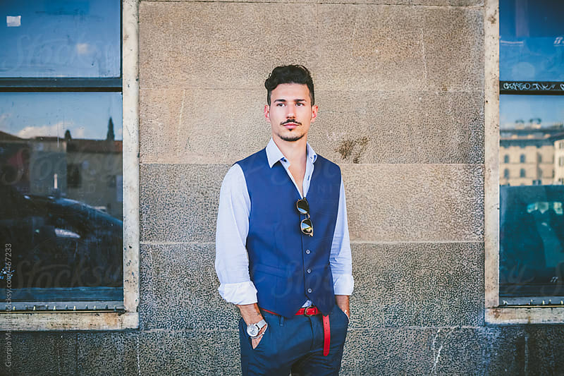 Portrait of an Elegant Trendy Commuter in Waistcoat by Giorgio Magini for Stocksy United