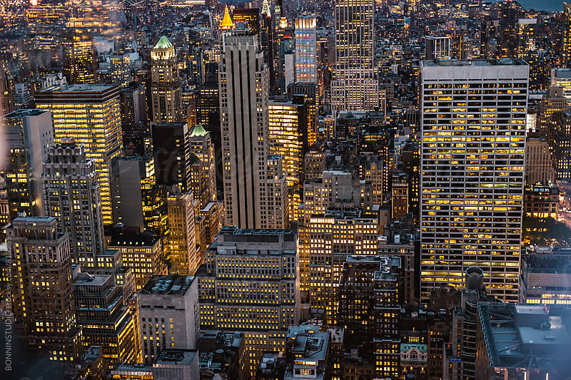 View of Manhattan skyline at evening. by BONNINSTUDIO for Stocksy United