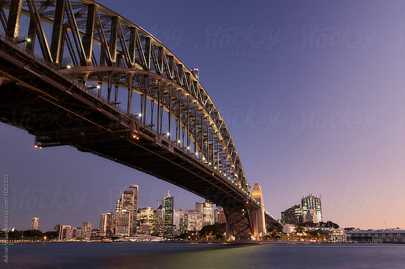 Sydney Harbour Bridge At Dusk by Adrian Young for Stocksy United