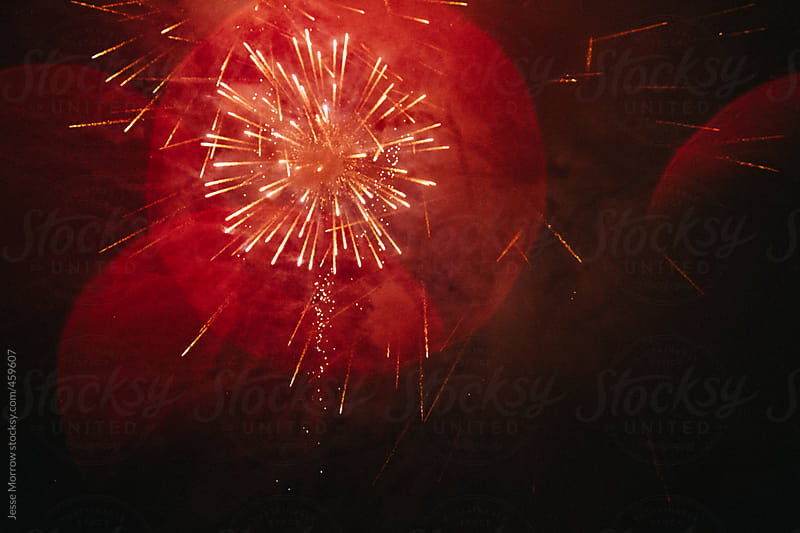 fireworks in sky during celebration by Jesse Morrow for Stocksy United