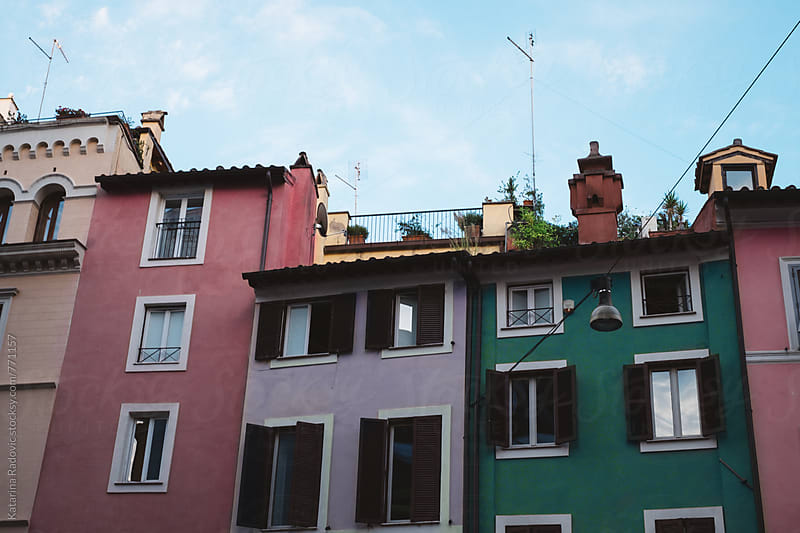 Colourful Pastel Houses  by Katarina Radovic for Stocksy United