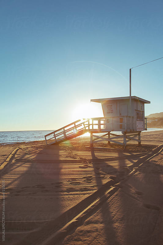 Lifeguard Cabin at Sunset by VISUALSPECTRUM for Stocksy United