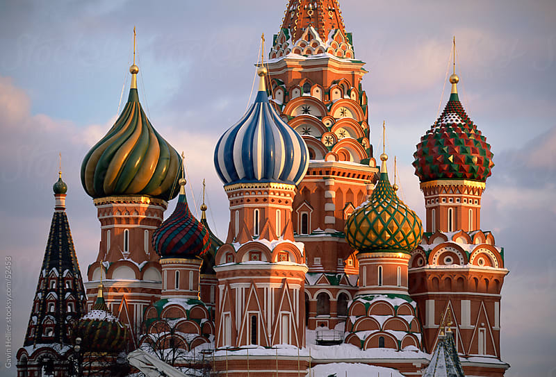 St. Basil's Christian cathedral in winter snow, Red Square, UNESCO World Heritage Site, Moscow, Russ by Gavin Hellier for Stocksy United