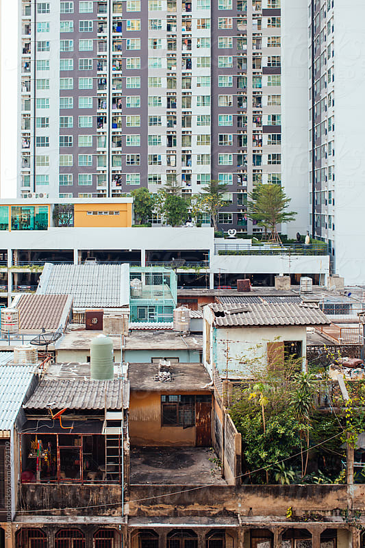 Contrast of Poor and Rich Buildings in Bangkok by Mosuno for Stocksy United