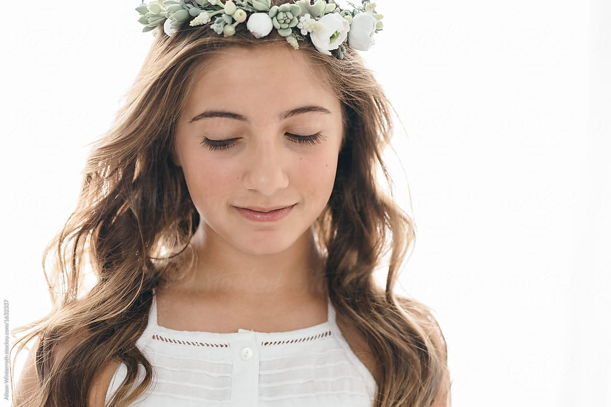 Gorgeous Pre Teen Girl Smiling Down With A Flower Crown -5121