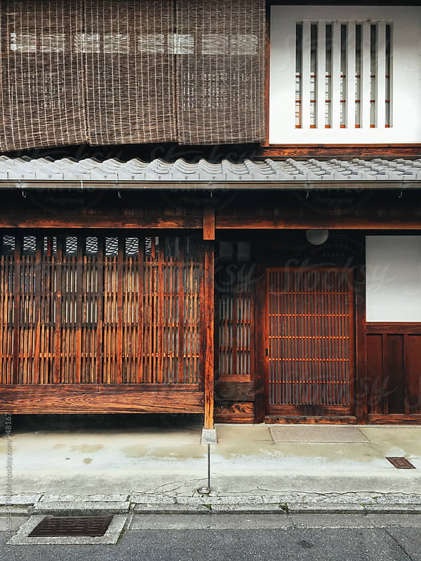 Japanese Architecture - Traditional Kyoto Wooden House Facade by VISUALSPECTRUM for Stocksy United