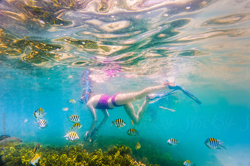 Little Boy and Girl Snorkeling On Tropical Reef In Cuba Caribbea by JP Danko for Stocksy United