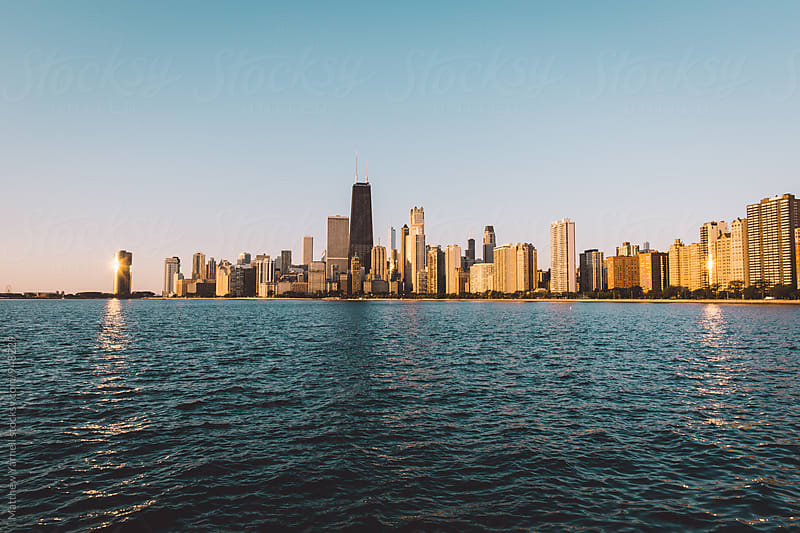 Chicago Skyline over Lake Michigan by Matthew Yarnell for Stocksy United