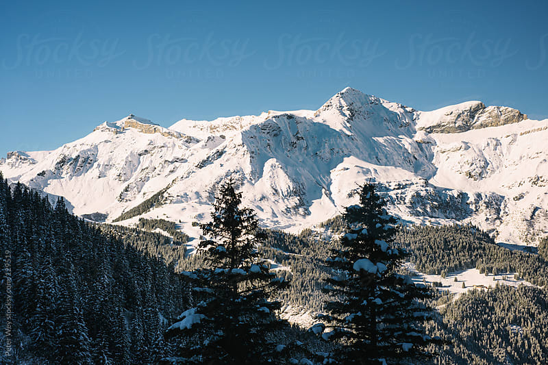 Panorama of Schildhorn mountain peak by Peter Wey for Stocksy United