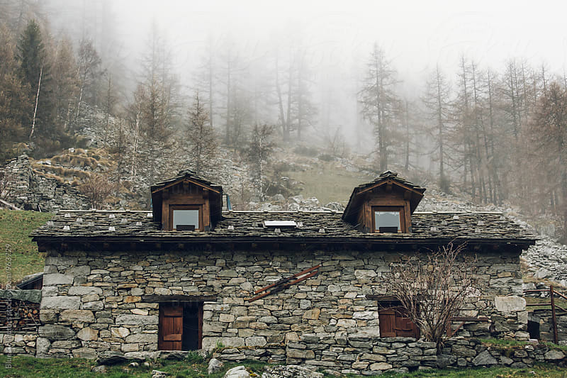 Traditional stones cabin of Alps  by Jordi Rulló for Stocksy United