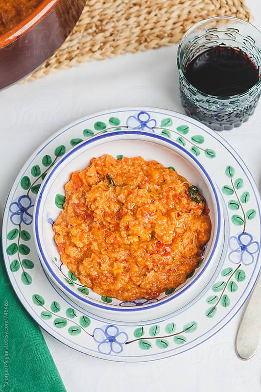 Traditional Italian Recipe: Tuscan Tomato Bread Soup Served in a Decorated Plate by Giorgio Magini for Stocksy United