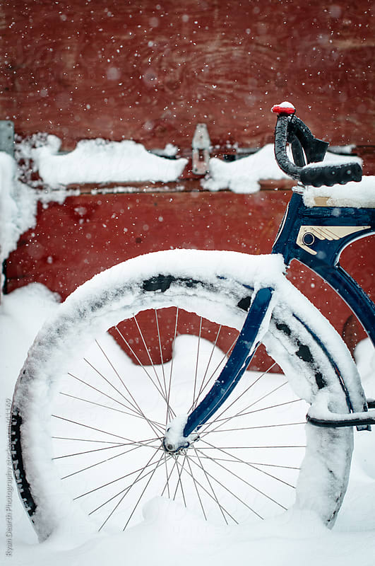 Blue Road Bike In Snow by Ryan Dearth Photography for Stocksy United