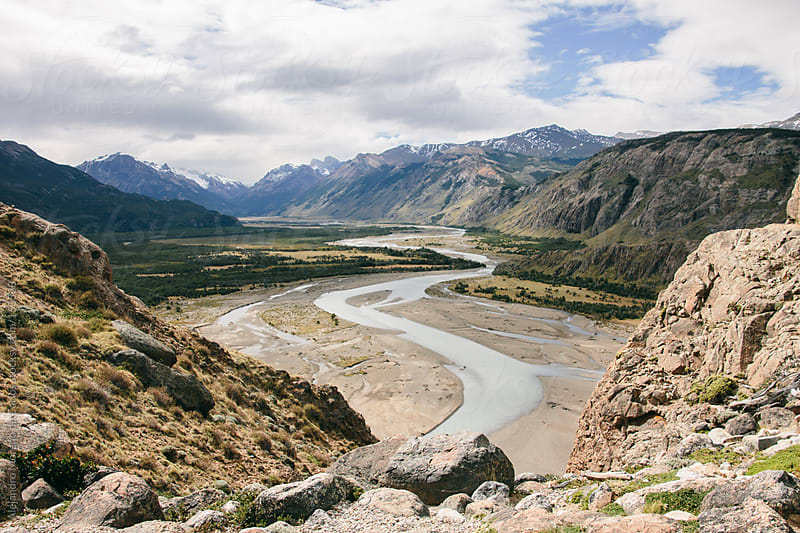 River and mountain landscape in Patagonia. Chalten, Argentina by Alejandro Moreno de Carlos for Stocksy United