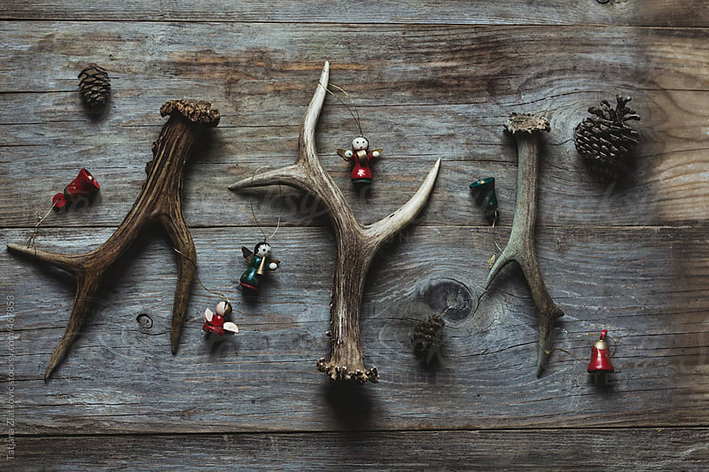 Deer antlers and Christmas ornaments by Tatjana Zlatkovic for Stocksy United