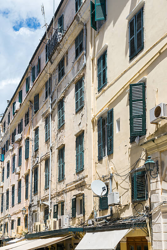 Aged venetian architecture of Corfu old town. Greece by Paul Phillips for Stocksy United