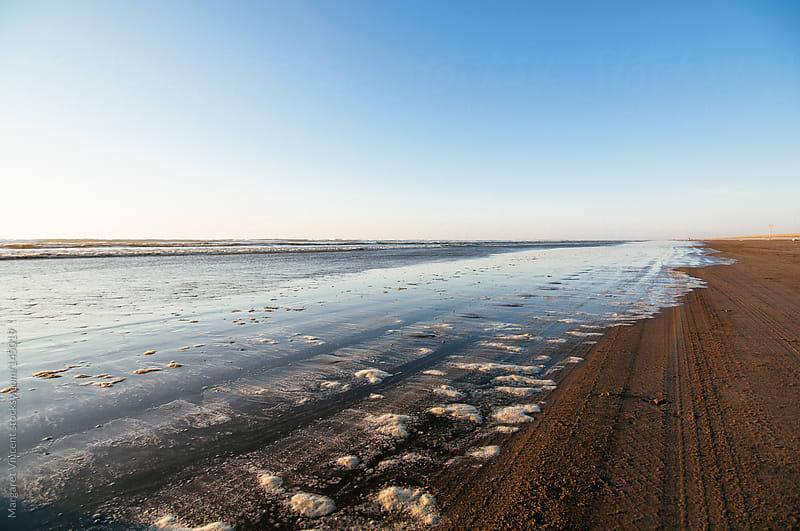 ocean shoreline with foam by Margaret Vincent for Stocksy United