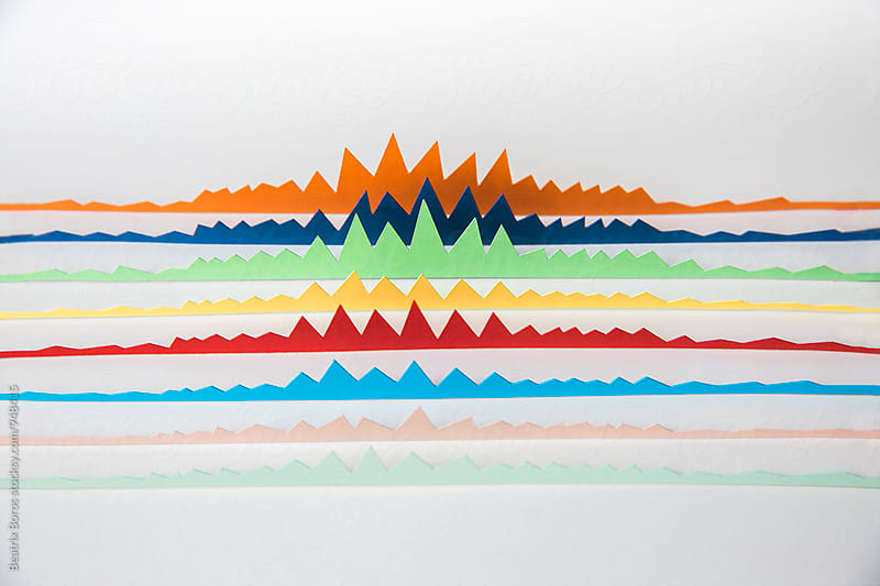 3D graphs behind each other on white background by Beatrix Boros for Stocksy United