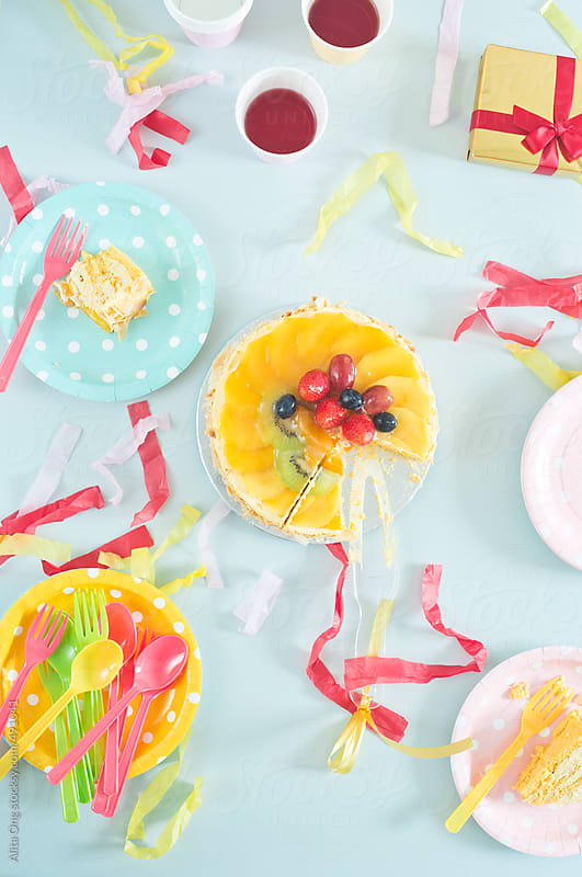 Colorful birthday party table by Alita Ong for Stocksy United