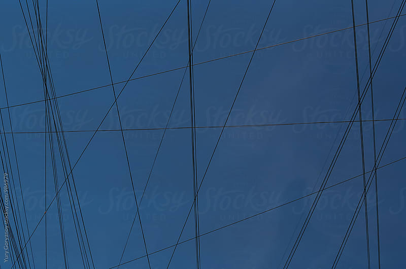 Background with wires and sky by Юрий Горяной for Stocksy United