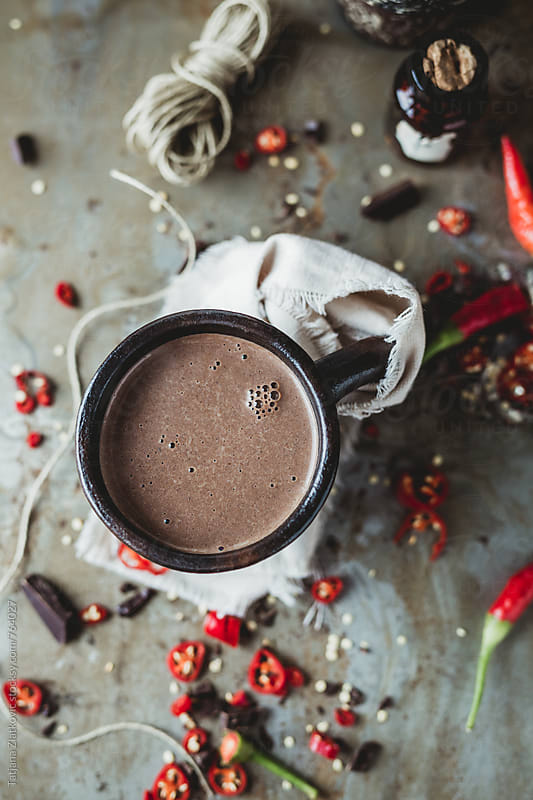 Hot chocolate with chili pepper by Tatjana Zlatkovic for Stocksy United